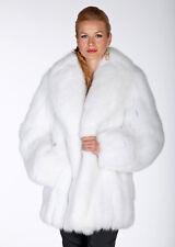 Real White Fox Fur Jacket Coat for Women - Shawl Collar
