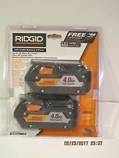 RIDGID (2-Pack) AC840087P 18-Volt 4.0Ah Lithium-Ion-HYPER LI BATTERY F/SHIP NISP