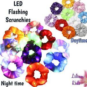 Hair Scrunchies LED Light Up Scrunchy Satin Hair Bands Glow in Dark Running Band