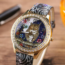 Fashion Women's Quartz Stainless Steel Leather Crystal Diamonds Owl Wrist Watch