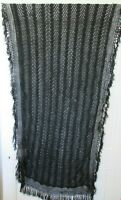 Beautiful Antique French Black Edwardian Tablecloth or Curtain Panel Fringing
