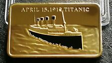 Collectable RMS Titanic Gold Plated Bar Ingot April 15th 1912 White Star Liner