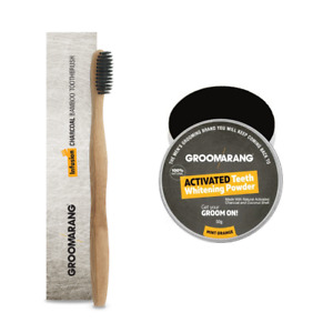 Groomarang Activated Charcoal Teeth Whitening Powder And Bamboo Toothbrush