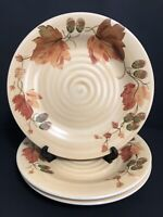"""Gibson Hand Painted Acorn Valley Ceramic Dinner Plate 11 1/8"""" Gold Set Of 3 Mint"""