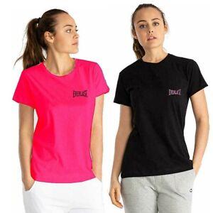 T-shirt donna EVERLAST manica corta sport sotto tuta girocollo nero rosa corallo