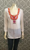 Trina Turk Silk Shannen Tunic Top Blouse Size L 3/4 Sleeve Off White Embroidered