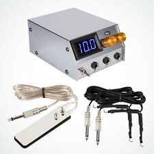 Premium LCD Digital Dual Tattoo Power Supply Unit w/ 2x Clip Cords & Foot Pedal