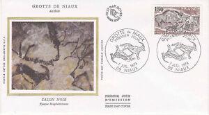 Enveloppe maximum 1er jour FDC Soie 1979 Grotte de Niaux Salon Noir
