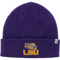 47 Brand NCAA LSU Tigers Raised Cuff Knit Purple Beanie Winter Hat NEW '47