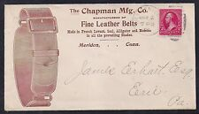 1896 Leather Belts Illustrated Cover - Meriden, Conn to Erie, PA, Flag Receiver