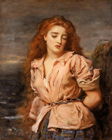 Oil John Everett Millais - Young girl portrait Martyr of Solvay Tied by chains