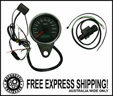 MOTORCYCLE SPEEDO TRIP METER 60MM - BLACK AND CHROME CUSTOM CAFE RACER ELECTRIC