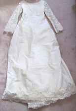 Vintage Wedding Dress Gown Mid Century Ivory Beaded Lace Satin Cape Cod Estate