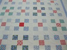 Patchwork Quilt Top Queen King 102 In x 120 In Nine Patch? Vintage Blocks