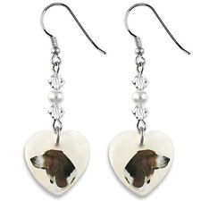 Basset Hound 925 Sterling Silver Heart Mother Of Pearl Dangle Earrings EP164