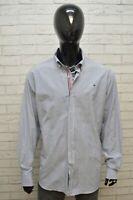 Camicia Uomo TOMMY HILFIGER Taglia Forte Maglia Polo Cotone Shirt Hemd Righe Blu