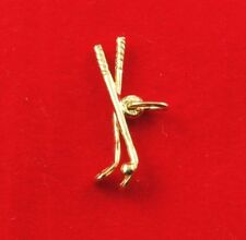 NEW 9ct Yellow Gold Golf Clubs Pendant 375 Charm 3D Free Shipping Opt 9K Sport