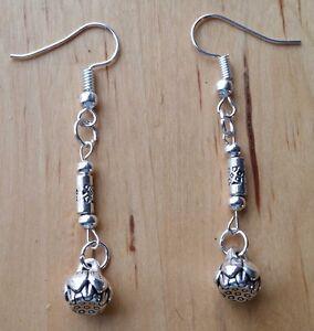 Silver Plated Lotus Flower Beads Drop Dangle Earrings Gift Bagged