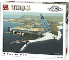1000 Piece History Jigsaw Puzzle IN THEM WE TRUST Spitfire WW2 Aeroplanes 05395