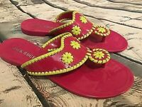 Women's Jack Rogers Hot Pink & Lime Green Thong Sandals, Size 7, Barely Worn.