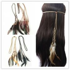 Pack of 3 Assorted Feather Suede Headband Tribal Bead Hair Festival Accessory