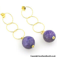 Black and Violet Agate Earrings set in Gold Plated Sterling Silver