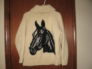 Vtg 50'S 60'S COWICHAN WESTERN HORSE HAND MADE WOVEN THICK SWEATER JACKET Sz S-M