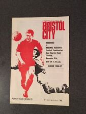 Bristol City Reserves v Arsenal Reserves programme 1966/67