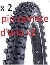 2 Copertoni / Pneumatici Bici 26 X 1.95 NERO modello mtb mountain bike + camere