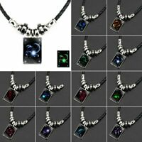 Hot Vintage 12 Constellations Glow In the Dark Luminous Pendant Necklace Chain