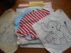 Lot of Vintage Fabric & Applique Elephant Pieces for Quilt Squares
