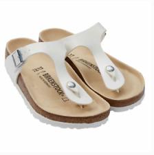 New Women's Birkenstock Gizeh Birko-Flor One-strap Womens Sandals White FS