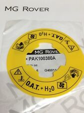GENUINE MG ROVER  YELLOW O.A.T. COOLANT BOTTLE LABEL MGTF MGZR MGZS MGTF
