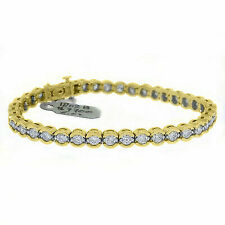 Miabella 1/4 Carat Diamond 14kt Yellow Gold Tennis Bracelet