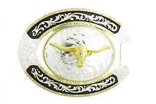 Texas Longhorn Bull Horseshoe Cowboy Western Belt Buckle