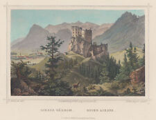 Slovakia Likavka Original Colored Steel Engraving Heisinger 1860