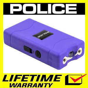 POLICE Stun Gun Mini PURPLE 800 380 BV Rechargeable LED Flashlight