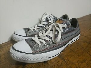 Converse Allstar Unisex Canvas Sneakers Gray Striped Mens 10, Womens 12