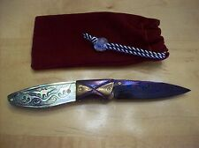 CUSTOM KNIFE BLACK PEARL ~ MOTHER OF PEARL ~ ENGRAVED FLYING BAT ARTWORK KNIFE