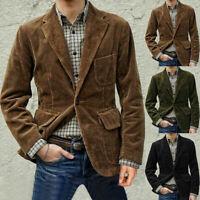 Vintage Corduroy Men's Suits Hunting Sport Leisure Blazer 3 Button Notch Lapel