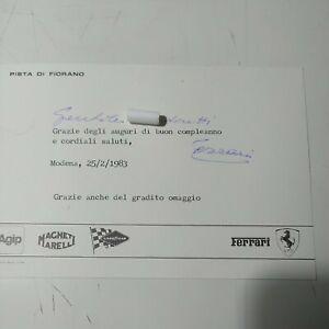 Enzo Ferrari Cartolina Fiorano Con Dedica Autografa