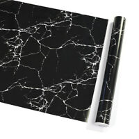 10m Vinyl Black Marble Self Adhesive Wallpaper Kitchen Wall Stickers Waterproof