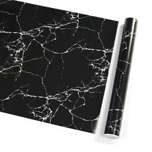 10m Vinyl Black Marble Self Adhesive Wallpaper Kitchen Wall Stickers Waterproof