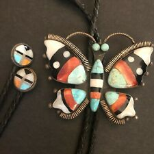 FEDERICO JIMENEZ Sterling Silver TURQUOISE Channel Inlay BUTTERFLY BOLO and TIPS