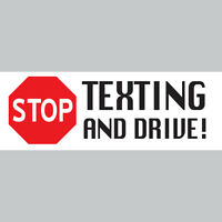 "STOP TEXTING Novelty Bumper Sticker Vinyl Decal STOP SIGN - 8.5""x3"""
