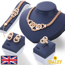 GOLD JEWELLERY SET GOLD CRYSTAL JEWELLERY SET NECKLACE BRACELET RING EARRING SET