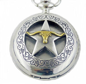 Pocketwatch with spring loaded lid and Chain Texas Lone Star Longhorn
