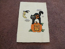 """Collectible Needlepoint Sampler Halloween Complete & Ready to Frame Backed 5x7"""""""