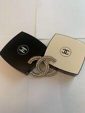Chanel CC Logo Silver Rhinestone Pin Brooch