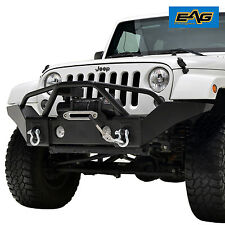 07-17 Jeep Wrangler JK Full Width Textured Front Bumper W/D-Rings &Winch Plate